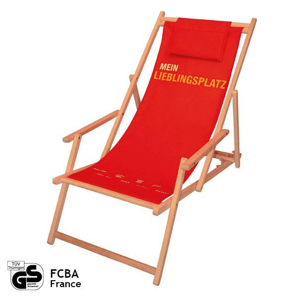 Deck chair with arm rests, pillow and changeable cloth - advertisement